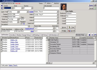 The small group management screen of the Excellerate church management software