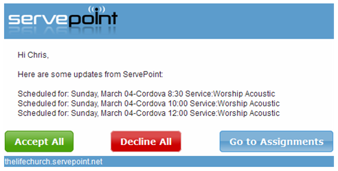 Church Schedule Notification